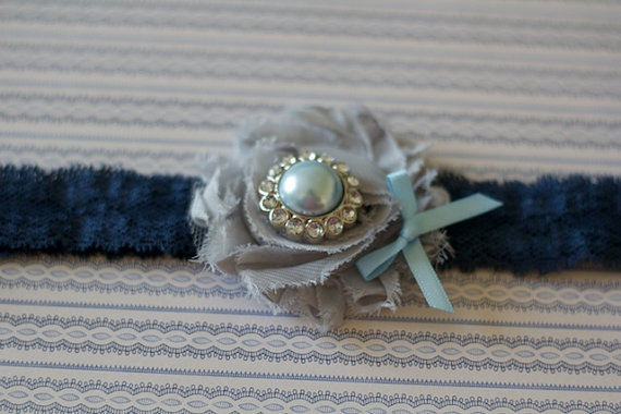 MINA: Navy & Grey Wedding Garter. Something Blue