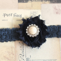 ELLA: Navy Wedding Garter. Something Blue.
