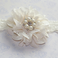 DAPHNE: Bridesmaid Flower Girl Headband. Ivory Flower.