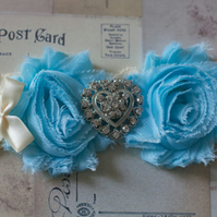 JULIETTE: Love Heart. Sky Blue Shabby Chic Wedding Garter. Something Blue.