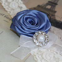 ISABELLA: Smoke Blue Wedding Garter. Something Blue.