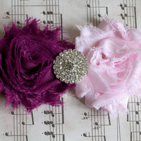 CHARLOTTE: Plum & Light Pink Wedding Garter. Shabby Chic Garter.