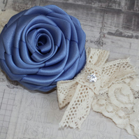 NIAMH: Smoke Blue Wedding Garter. Vintage-Style Garter. Something Blue