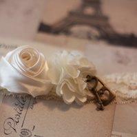PARIS: Ivory Lace Wedding Garter. Lock & Key Charms.