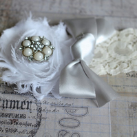 LIA: Silver & White Fairytale Wedding Garter.