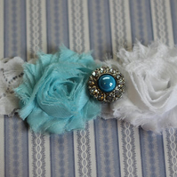 OCEANE: Robin Egg Lace Wedding Garter. Something Blue