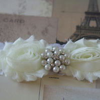 SARA: Ivory White Fairytale Wedding Garter.