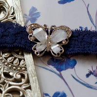 AMBERLEE: Butterfly Navy Wedding Garter. Something Blue.
