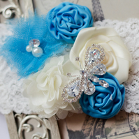 SABINA: Butterfly Ivory & Blue Wedding Garter. Something Blue. Fairytale Wedding