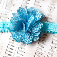 JULIA: Blue headband for Baby, Bridesmaid or Flower Girl.