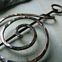 Hammered Copper Celtic Coil Shawl Pin