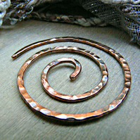 Copper Coil Shawl Pin