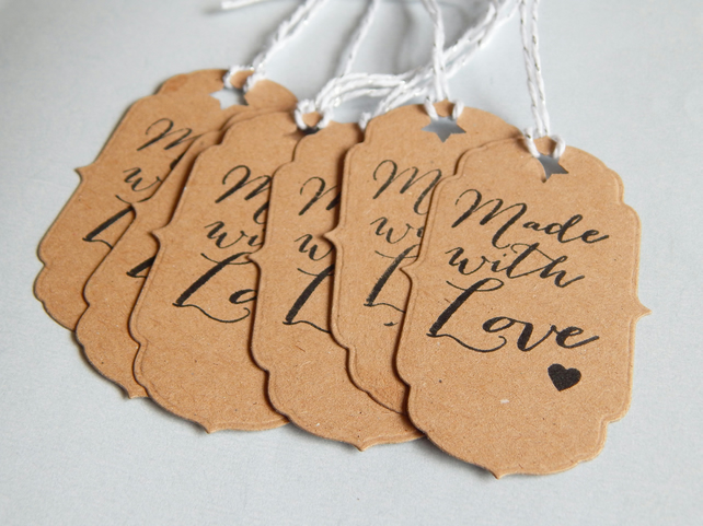 6 Vintage Style Handmade Hand Stamped Handmade With Love Kraft Card Gift Tags