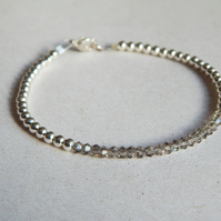 Minimalist Bracelet With Small Silver Plated Beads And Grey Crystal Beads UK