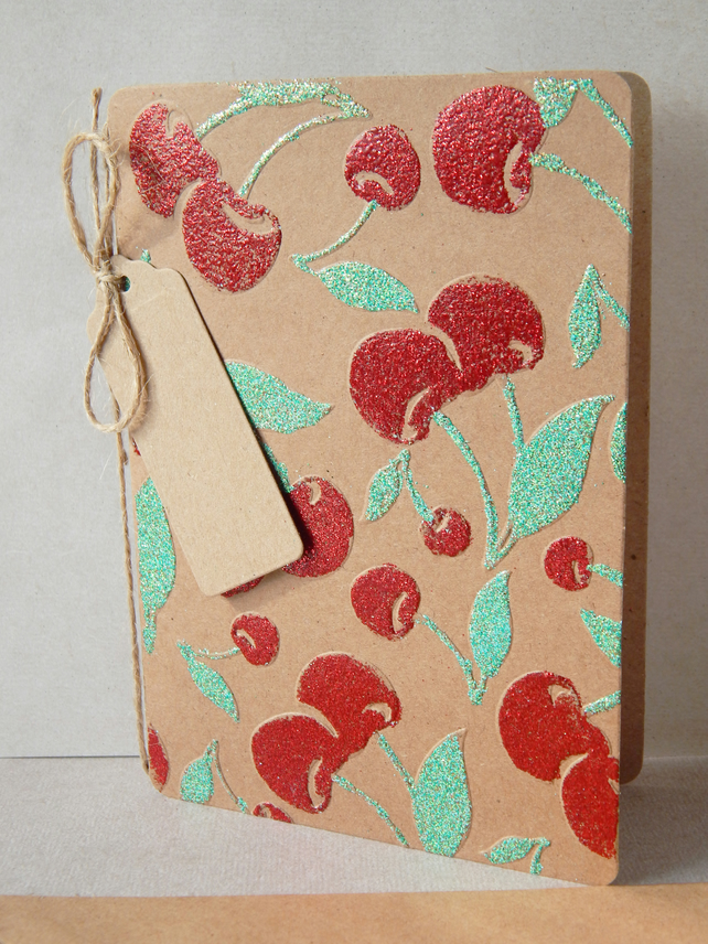 Rockabilly Cherry Greetings Card, Vintage, Retro Style With Glitter And Twine UK