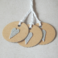 6 Silver Glitter Heart Tags With Kraft Card And White And Silver Bakers Twine UK