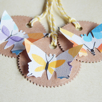 6 Butterfly 3D Tags With Butterfly Paper And Kraft Card And Bakers Twine UK