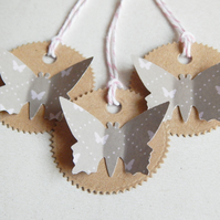 6 Grey Butterfly 3D Tags With Pink Butterfles, Recycled Kraft Card, Bakers Twine