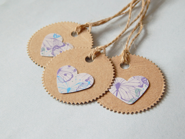 6 Butterfly Heart Tags, Hand Cut Recycled Kraft Card And Paper, Garden Twine UK