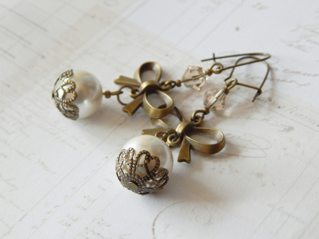Cream And Antique Brass Colour Earrings, Brass Bows, Faux Pearls And Crystals UK