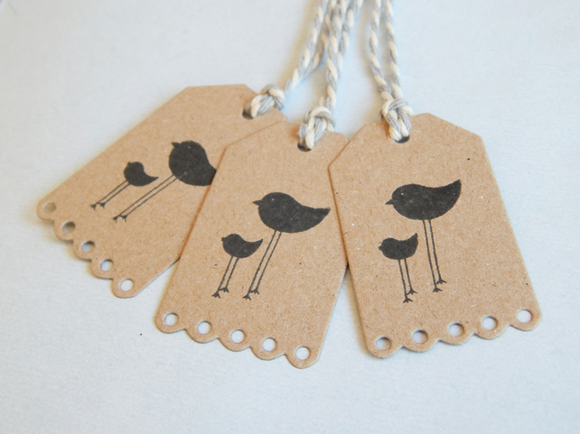 6 Hand Printed Bird Tags, Hand Cut, Kraft Card, Grey And Cream Candy Cane, UK