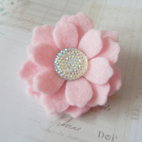 Pink Felt Flower Brooch With Sparkly Centerpiece, Hand Cut, Jewellery UK