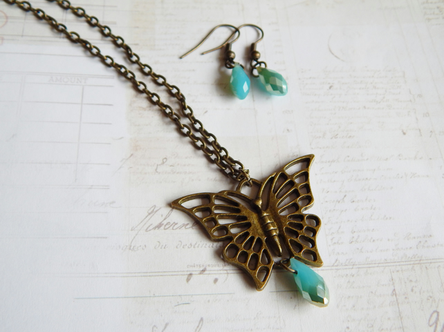 Brass Butterfly Necklace & Matching Earrings, Aquamarine Colour Glass Droplets