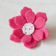 Pink Boho Flower Brooch, Hand Cut Felt With Acrylic AB Centerpiece, Jewellery UK
