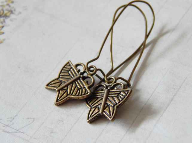 Art Deco Style Butterfly Earrings, Antique Brass Colour, Large Kidney Wire, UK