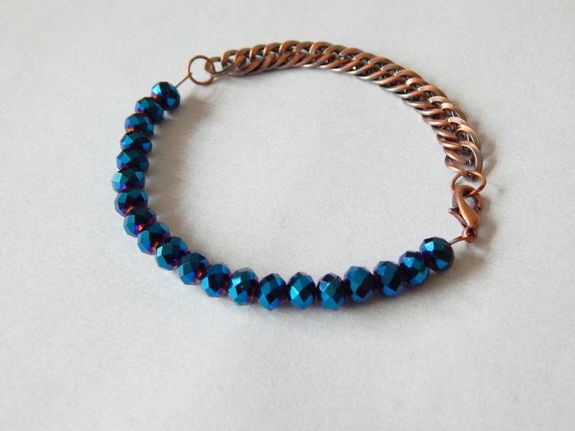 Copper And Metallic Blue Bead Bracelet, Electroplated AB Glass Beads, UK