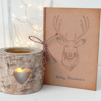 Hand Stamped Xmas Stag Card, Hand ink Distressed, Vintage Style, Kraft Card