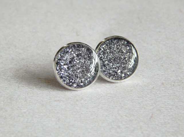 Glittery Resin Stud Earrings, Grey Glitter, Lead & Nickel Free, Earrings UK