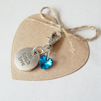 Swarovski Heart Clip On Bag Purse Keyring Charm, Live Laugh Love, Gift Tag Heart