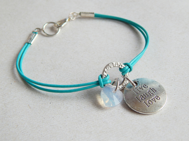 Leather Cord Swarovski Opal Heart Bracelet, Turquoise, Live Laugh Love Charm, UK