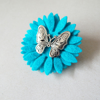 Butterfly And Turquoise Flower Felt Brooch, Hand Cut, Boho Jewellery, UK