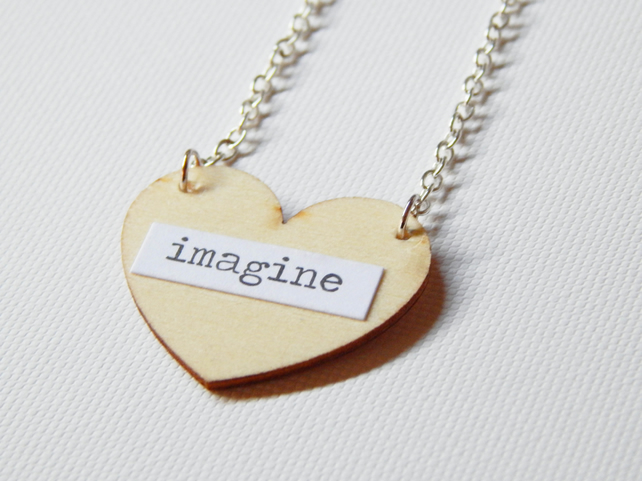 Wooden Heart Quote, Imagine Pendant Necklace With Silver Plated Chain