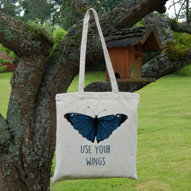 Butterfly Printed Tote Bag, Strong Lightweight Eco Cotton, Use Your Wings Quote