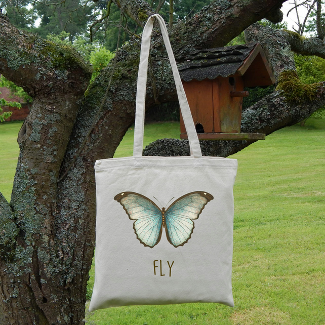 Butterfly Printed Tote Bag, Strong Lightweight Eco Cotton, Fly Quote