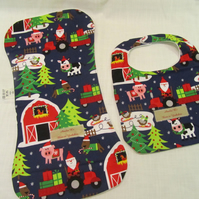 Farmer Christmas Bib and Burp Cloth Set