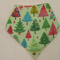 Patterned Christmas Trees Bandanna Dribble Bib