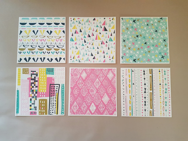 Note Card Set, Set of 6 with Envelopes, Blank Cards, Thank You Notes