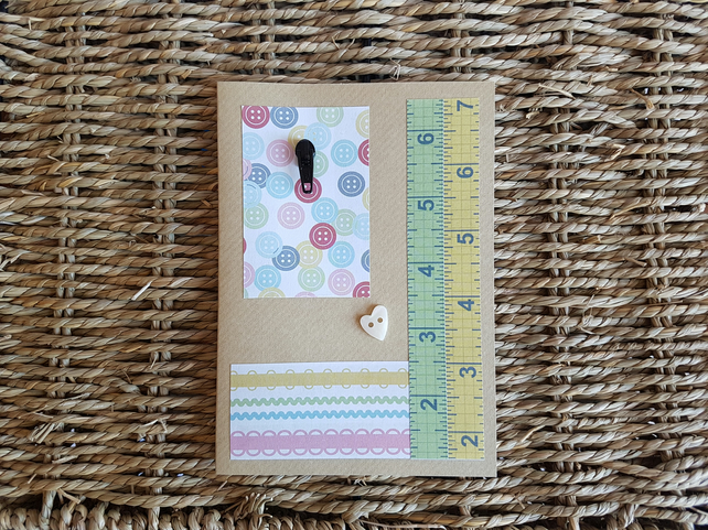 Sewing Greetings Card, Blank Card