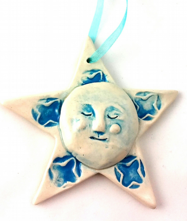 Blue Hanging Ceramic star (moon face and star)