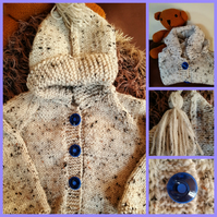 Aran Tweed hand knitted child's hoodie