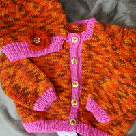 Sunflower Hand knitted Baby Cardigan and Hat