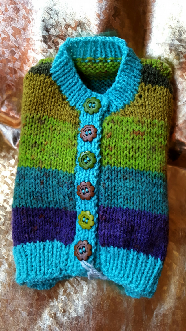 Hand Knitted Striped Baby Cardigan