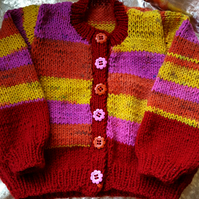 Bright and Sunny Hand knitted Baby Cardigan