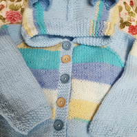 Hand knitted Blue Ted Baby Hoodie