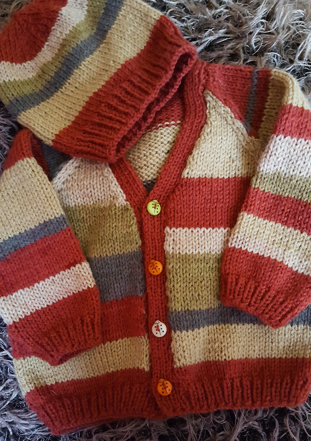 Hipster Baby hand knitted striped cardigan and beanie hat