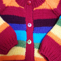 Rainbow Hand knitted Baby Cardigan